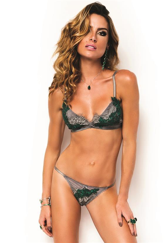 Conjunto Lingerie de Luxo Cinza e Verde Emerald De Chelles