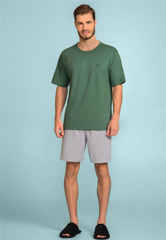 Pijama Masculino Verde de Algodão Manga Curta 122719 Lua Encantada