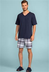 Pijama Masculino Azul e Xadrez de Algodão 122730 Lua Encantada