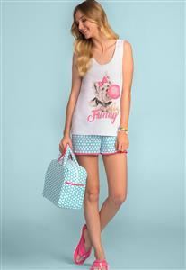 7a37a2e05 Pijama Adulto Feminino com Regata e Shorts 100% Algodão 166548 Lua Encantada