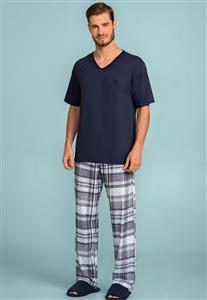 Pijama Masculino 100% Algodão Azul Marinho e Xadrez com Calça 124104 Lua Encantada