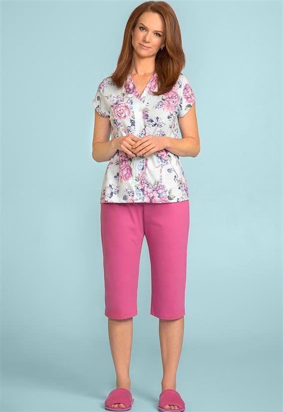 Pijama Pescador Floral com Blusa de Botões 105811 Lua Encantada