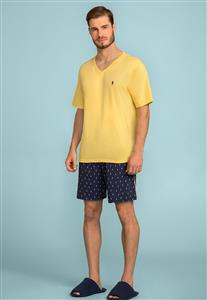 Pijama Masculino Curto Amarelo 122717 Lua Encantada