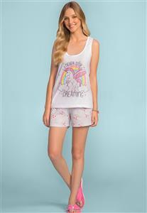 Pijama Feminino do Unicórnio Regata com Shorts 166538 Lua Encantada