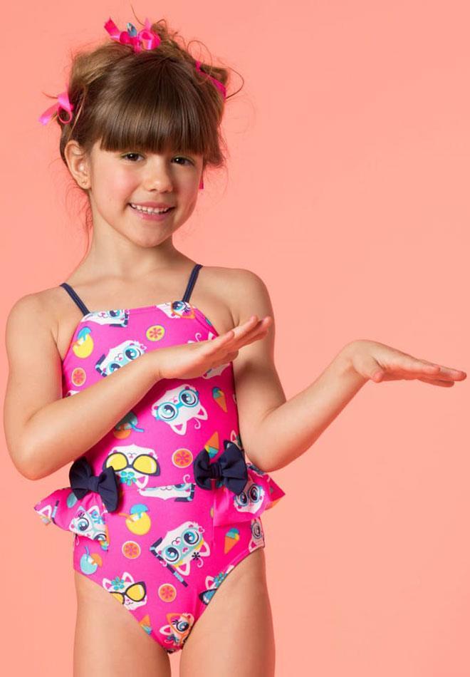 39e0d0790 Maiô Kids Lacinhos Gatinha com Proteção UV FPS 50 Puket