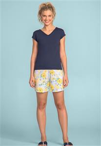 7a0d8af44 Short Doll Comprido Azul com Manga e Detalhes em Flores 106645 Lua Encantada
