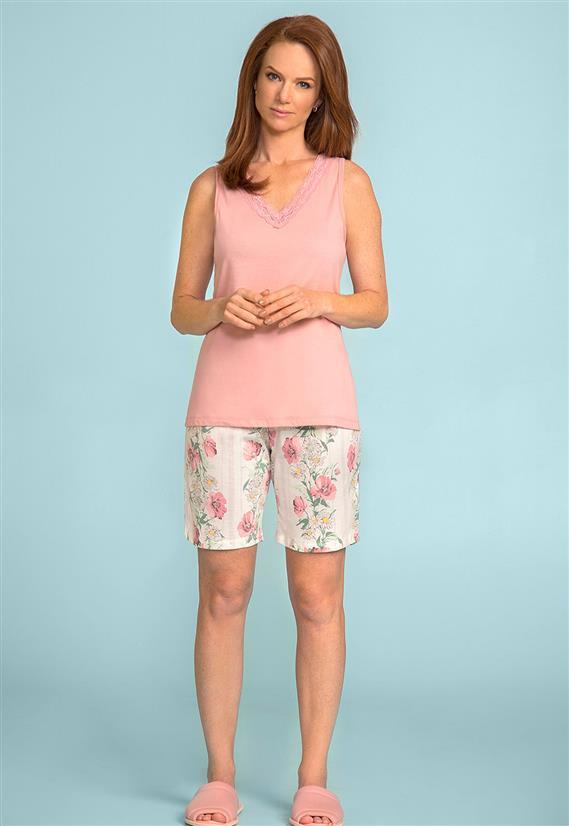 b0172e5bd Pijama Bermudoll Regata de Algodão Estampa Floral Lua Encantada