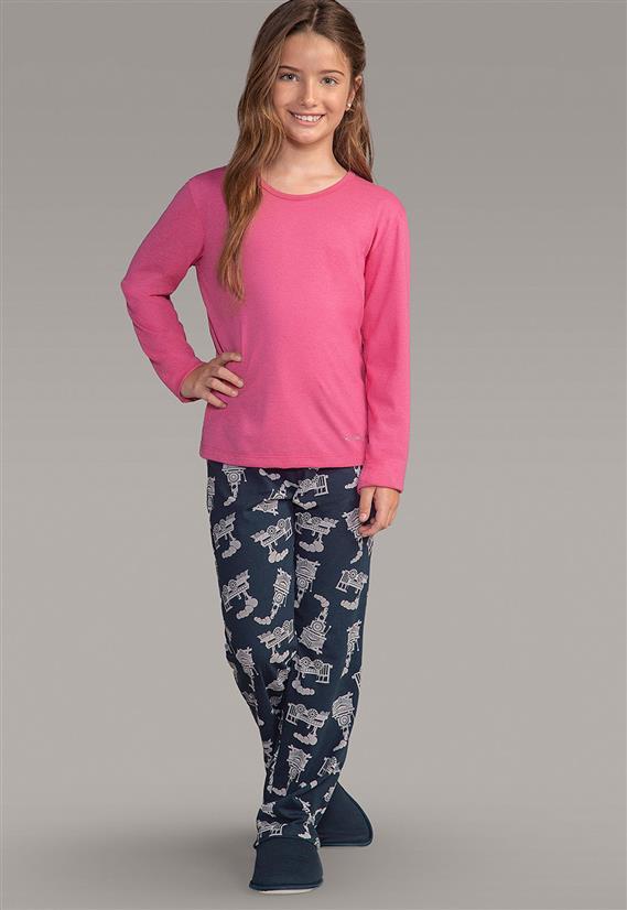 36348e960e13fa Pijama Infantil Calça e Camisa Manga Longa 111778 Lua Encantada