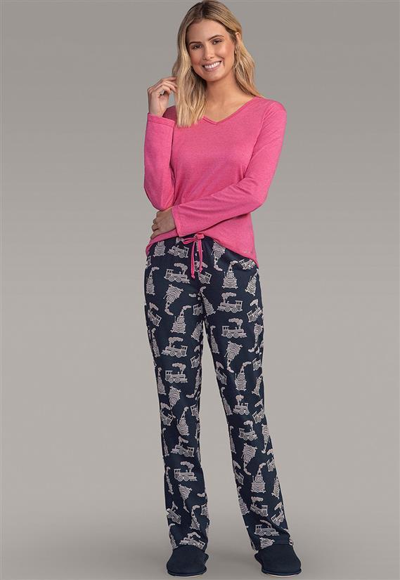 7ceb13d499b1af Pijama Feminino Calça Estampada Trem e Camisa Manga Longa 130259 Lua  Encantada