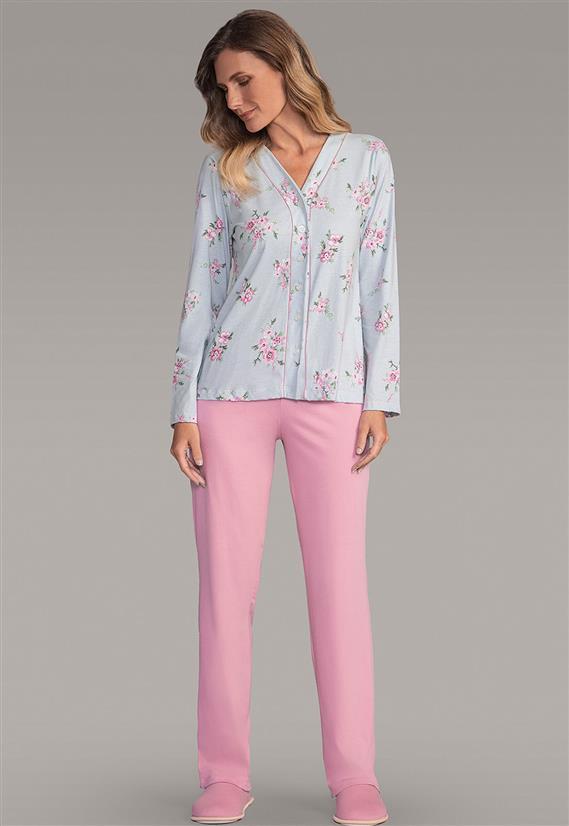 f036b32f1d9af3 Pijama Feminino Calça e Camisa Manga Longa Floral 105414 Lua Encantada