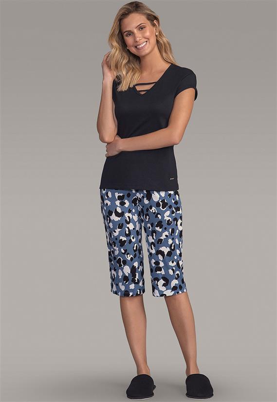 587d20c94 Pijama Feminino Pescador Estampa Onça Camisa Manga Curta 101495 Lua  Encantada