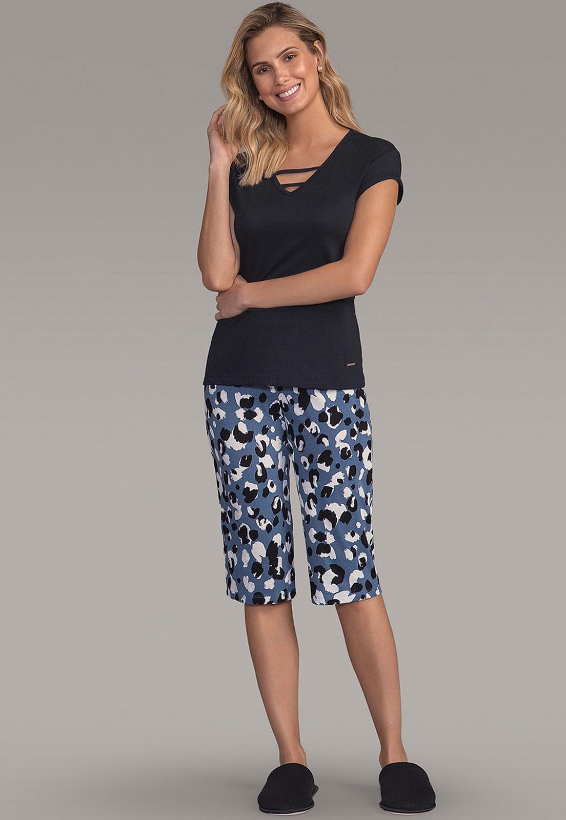 44fe45e5c Pijama Feminino Pescador Estampa Onça 101495 Lua Encantada - Le Lingerie