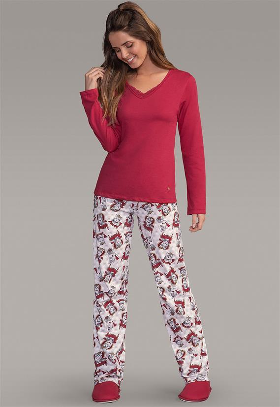 976103484 Pijama Feminino Calça Estampa Gatos e Camisa Maga Longa 109038 Lua Encantada