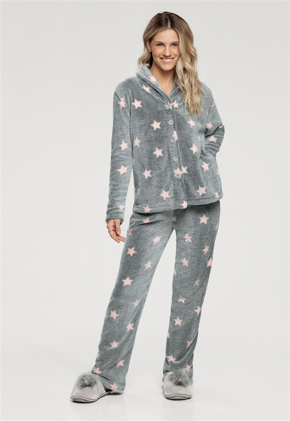 8213d6da3 Pijama Manga Longa com Abertura Frontal Estampa de Estrelas 10846 Cor Com  Amor