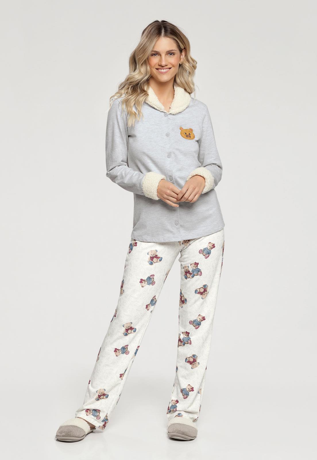 9b1d3e250 Pijama Manga Longa com Abertura Frontal Estampa de Ursinhos 10902 Cor Com  Amor