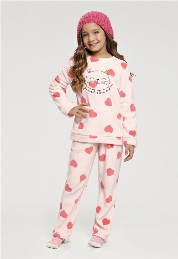 89fa6ca17 Pijama Manga Longa Infantil Corações e Gato 67391 Cor Com Amor - Le ...