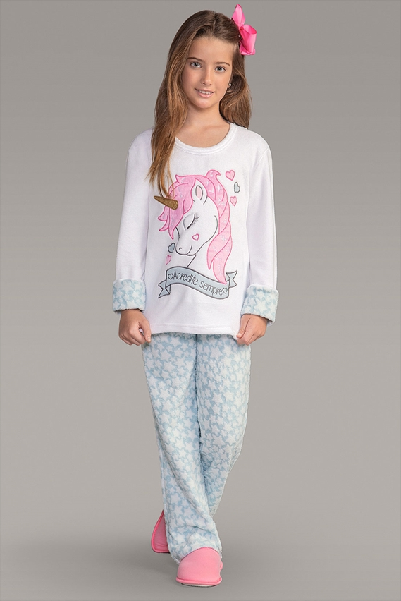 80d3bf2f6 Pijama Soft Manga Longa Unicórnio 151129 Lua Encantada- Le Lingerie