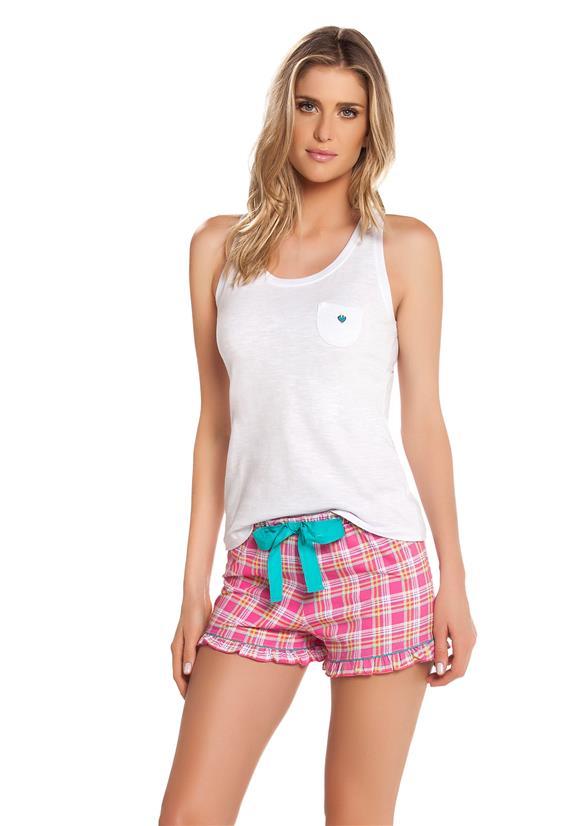 Short Doll com Regata e Shorts Xadrez Cor com Amor